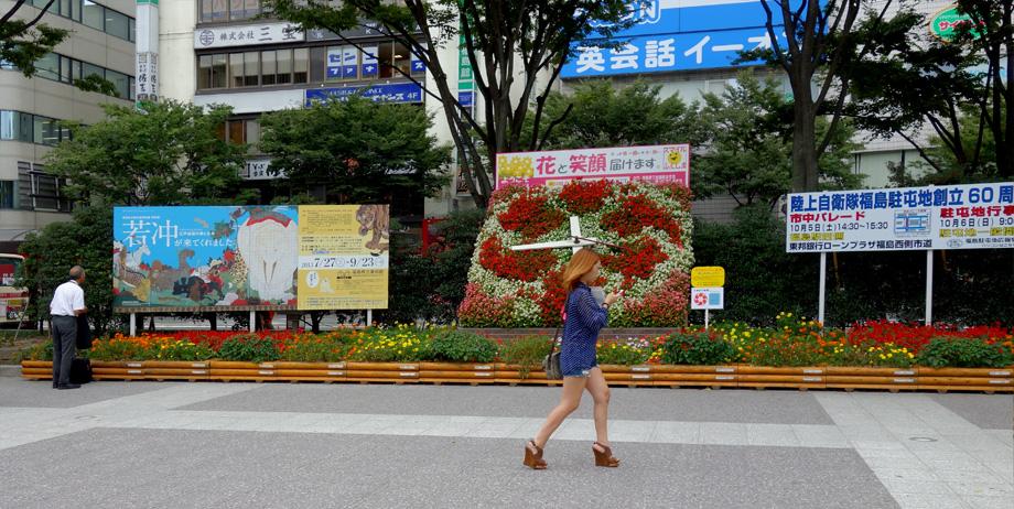 福島までは車で行ったが、これは駅前のショット。県庁所在地とは思えない閑静な駅前でした。